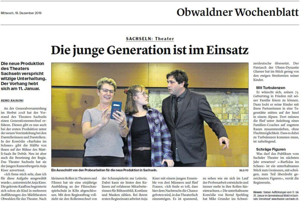 Obwaldner Zeitung vom 18.12.2019